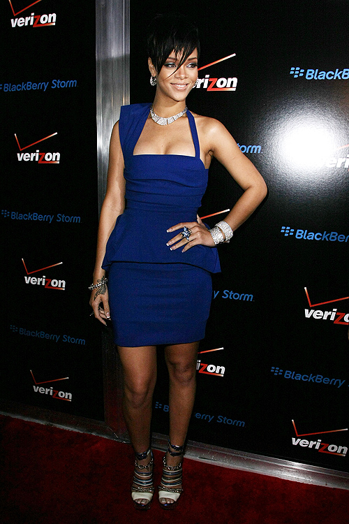 Rihanna photographed at the Verizon & Blackberry Pre-Grammy Party (Photo by Noel Vasquez/Getty Images)