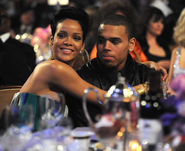Rihanna and Chris at the Pre-Grammy Party